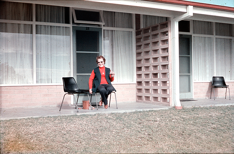 Unknown lady at motel